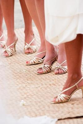 Bridesmaids wearing strappy sandal heels
