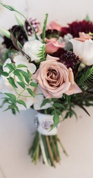 Roses and Dahlias with a touch of greenery