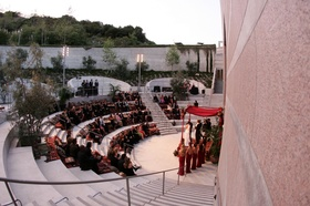 Outdoor wedding ceremony at Skirball Cultural Center amphitheater