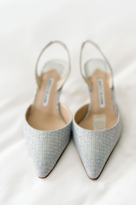 wedding shoes bridal heels pointed toe ankle slingback in silver manolo blahnik