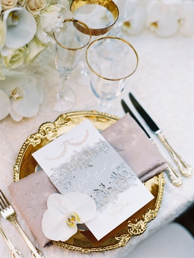 Wedding reception gold charger pink napkin menu card orchid silver grey belly band with calligraphy