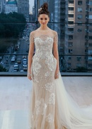 Ines Di Santo Fall 2018 bridal collection long sleeve sweetheart sheath gown with detachable train