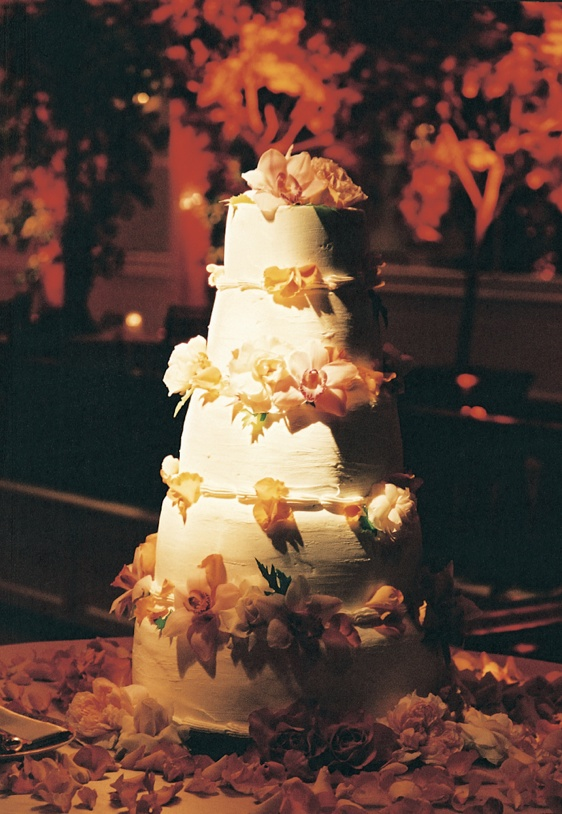 Five tier cake with orange flowers