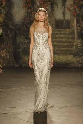 """column embroidered """"hermia"""" gown with illusion neckline by jenny packham"""
