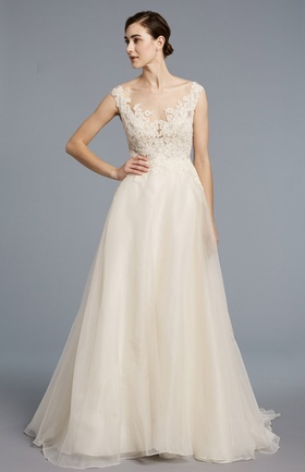 Anne Barge Spring 2018 bridal collection Catherine wedding dress organza bateau a line gown