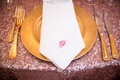 gilt place setting custom napkins initial southern wedding feminine sequins charger silverware