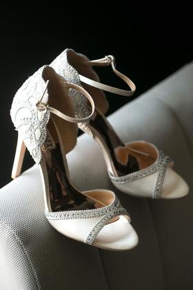 Peep toe scallop motif open toe heels badgley mischka brittany daniel actress wedding heels