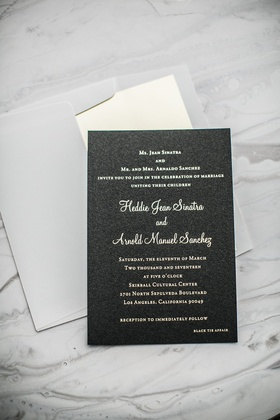 black wedding invitations with texture, gold lettering, grey envelope