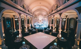 wedding reception vibiana wedding venue black white winter decor columns lighting arches