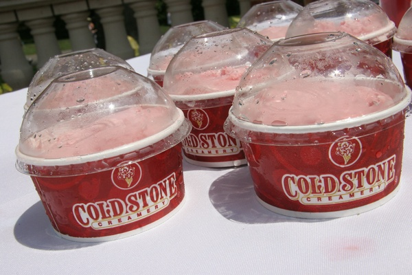 Cold Stone Creamery cups of sorbet served after a wedding ceremony