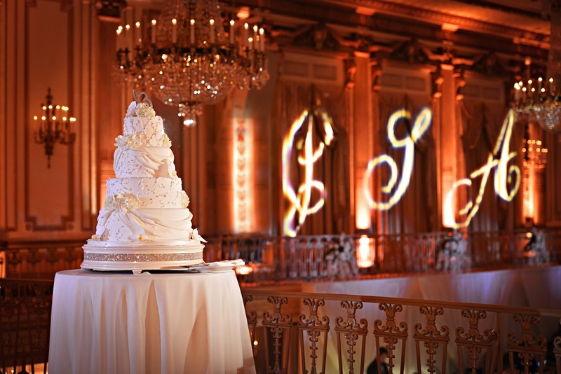 Sparkling confection on crystal-embellished cake stand