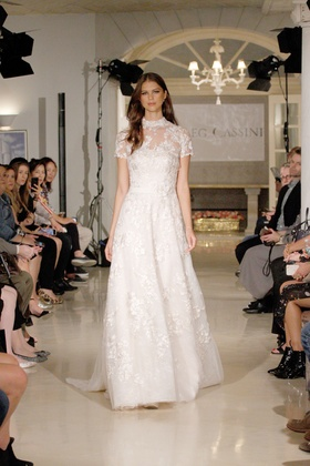 Oleg Cassini Fall 2018 bridal collection removable high neck topper on strapless a-line gown