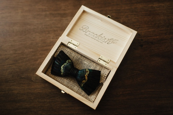 groom unique accessory feather bow tie brackish in wood box