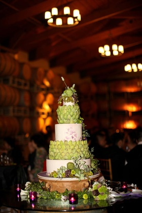 Vineyard wedding cake with artichoke leaves and grapes
