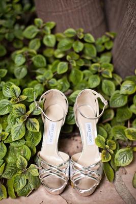 silver strappy jimmy choo heels worn at reception