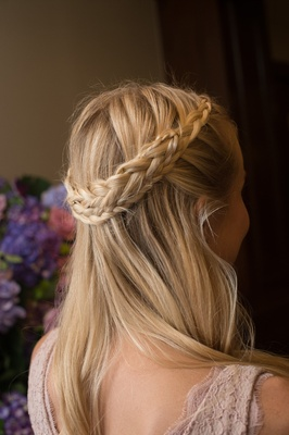 braided crown hair down bridesmaid hairstyle