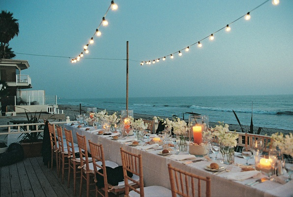 A long reception table boasted ocean views