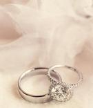 Platinum wedding band and sparkling ring