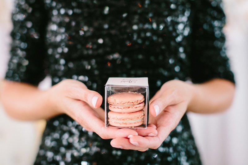 wedding favors box of macarons as escort cards