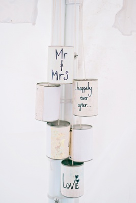 DIY can details calligraphy english british garden wedding getaway car tin cans