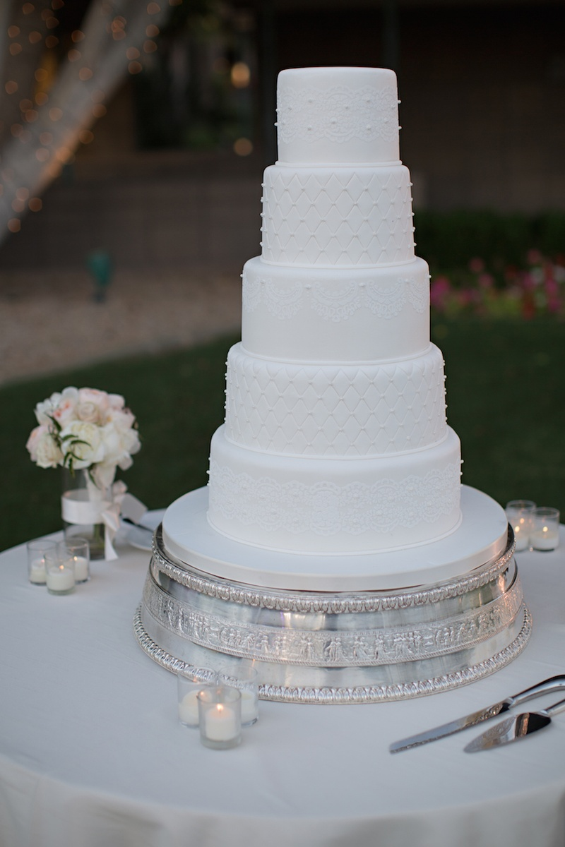 Cakes & Desserts Photos - All-White Wedding Cake - Inside Weddings