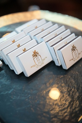 Wedding favors matches gold foil monogram crest pineapple palm tree rope with wedding date