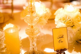 Fancy wedding table number with gold stand