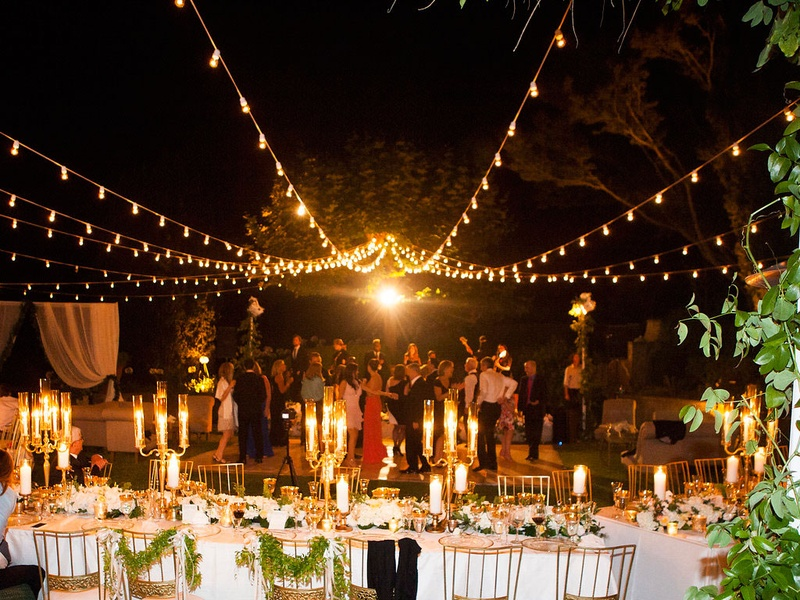 Reception Décor Photos - Outdoor Dance Floor with Lights After ...