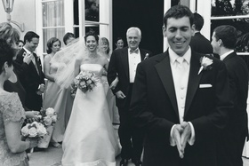 Black and white image of couple's first look