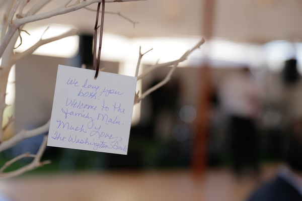 Wedding reception tree with hanging notes from guests