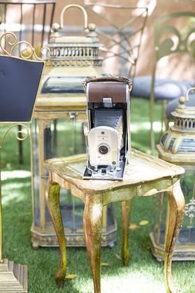 vintage camera with leather bellows 1920s inspired styled shoot