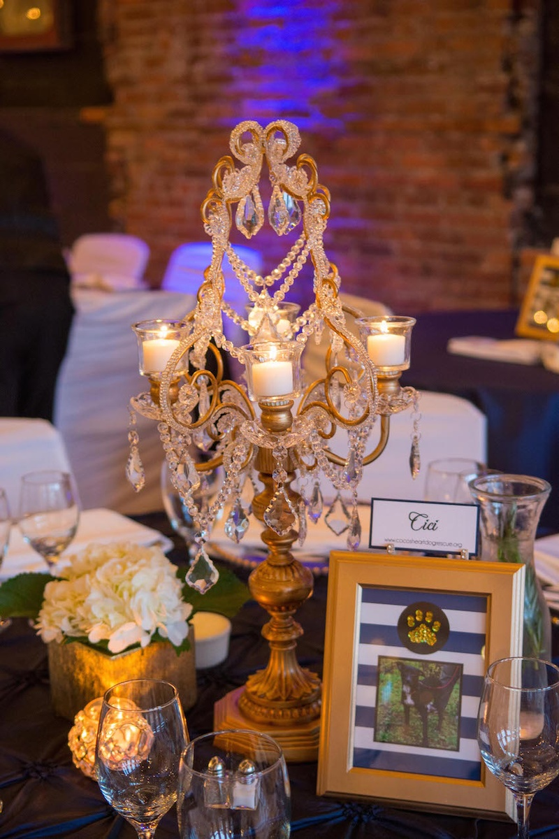 Gold candelabrum with crystals and dog table name