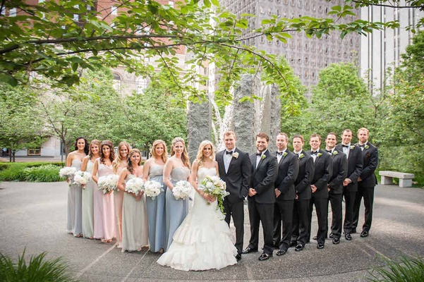 Brian Leonard Stefanie Lombardo colorful bridal party