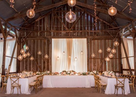 wedding venue dos pueblos ranch barn santa barbara area glass orb pendants u shape table x chairs