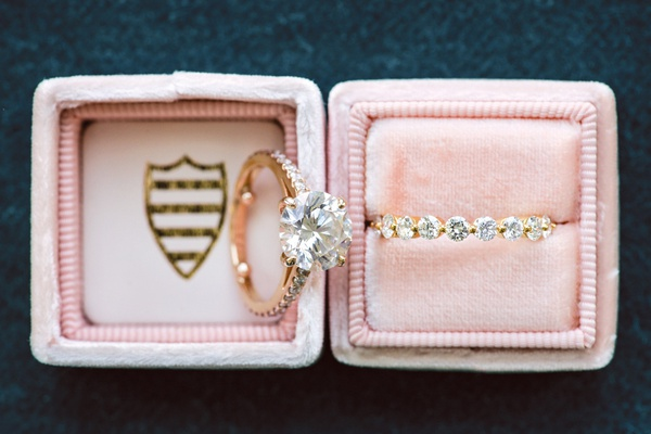 blush mrs. box with round diamond engagement ring with round diamond, eternity wedding ring