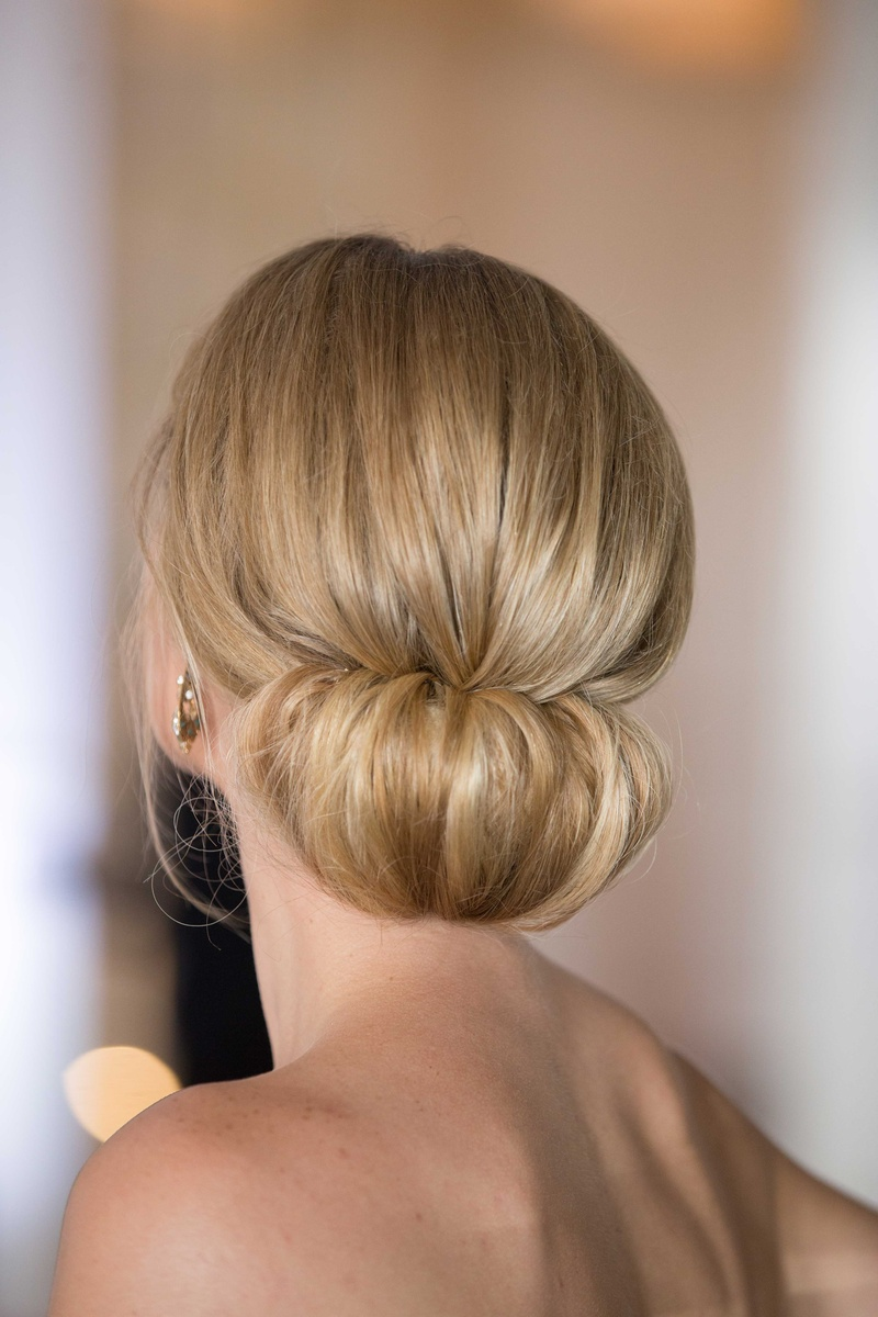 Beauty Photos Elegant Updo With Strapless Gown Inside Weddings