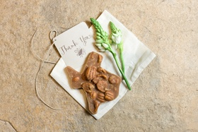 Edible praline favor in shape of texas