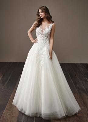 Badgley Mischka Bride 2018 collection wedding dress Betsy illusion neckline sleeveless bridal gown