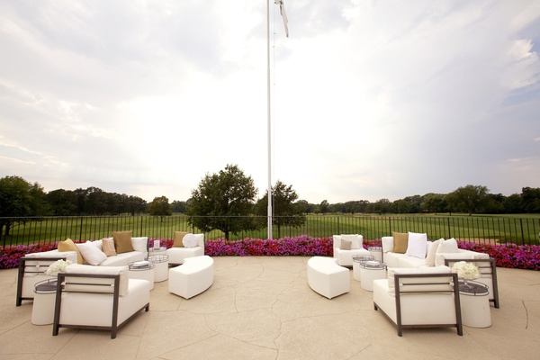 Wedding reception lounge areas with golf course views