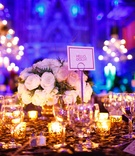 Wedding reception table with Broadway musical name