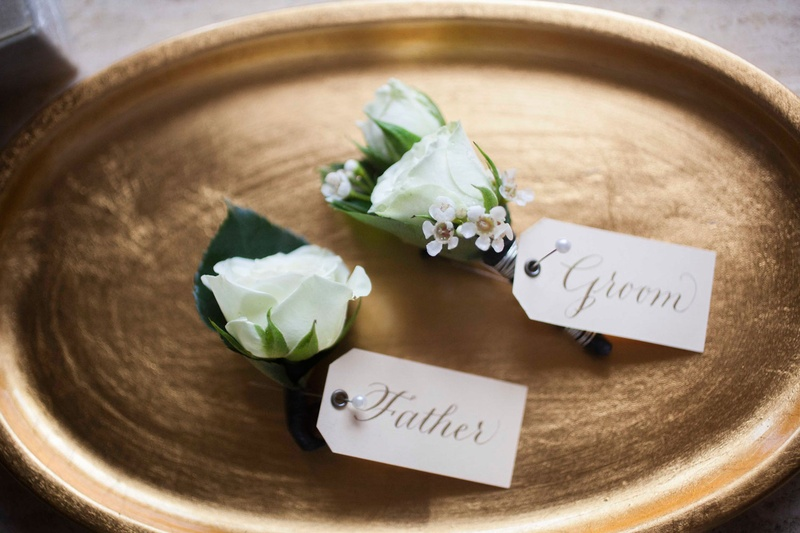 White rose flower boutonniere wedding for groom and father of groom tag white