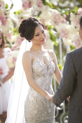 Sweetheart neckline wedding dress with silver beads and embroidery
