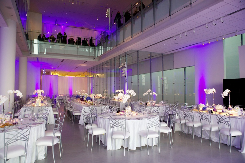 Wedding Menu Card White Tables With Silver Chairs In Reception Room Purple Lighting