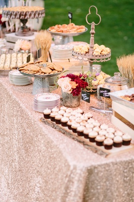 dessert display rose gold metallic linen rustic chic wedding professional event cookies cupcakes