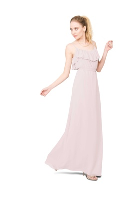 Joanna August Shuana long bridesmaid dress with thin straps ruffle neckline in light pink