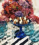 Blue cake stand topped with white and dark chocolates