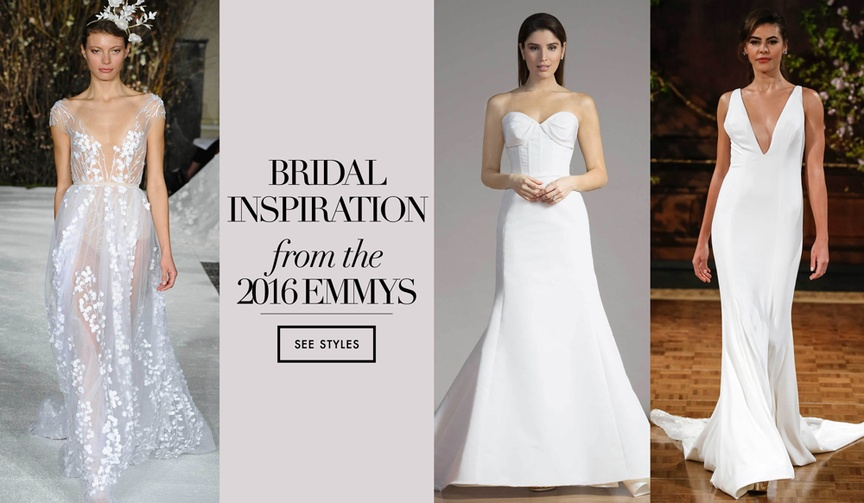 Discover designer bridal gowns that resemble the best dressed list on the 2016 Emmy Awards