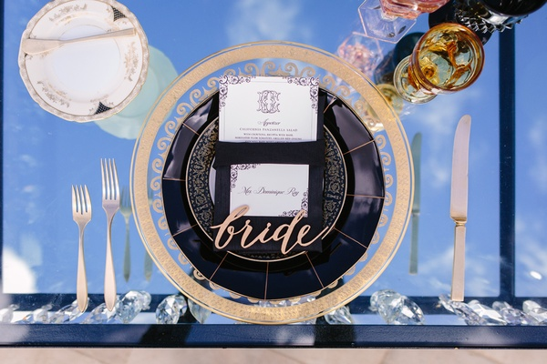 laser cut bride place setting, ornate gold and clear charger, mirror top sweetheart table