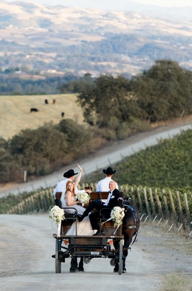 Bride and father of the bride in back of horse wagon