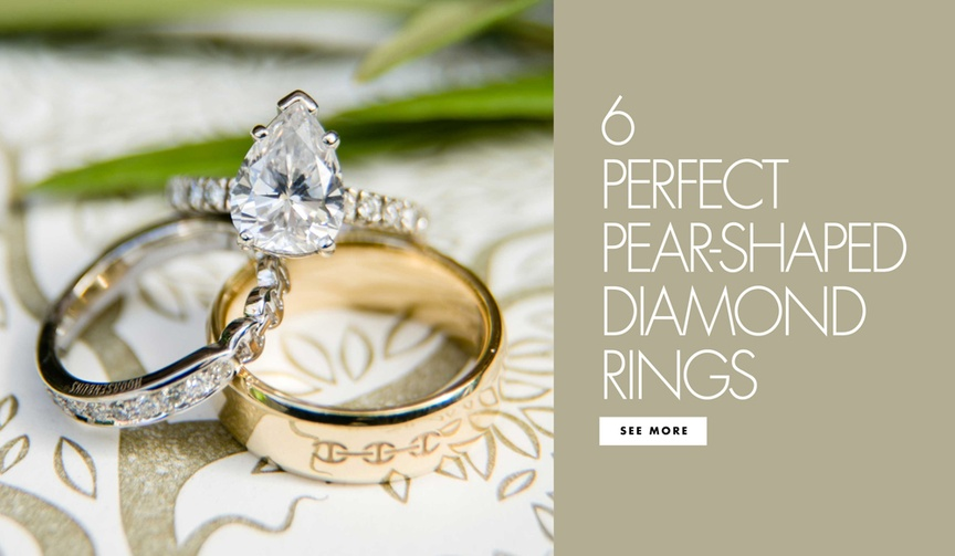 Engagement ring trend - six perfect pear-shaped teardrop shaped diamond rings